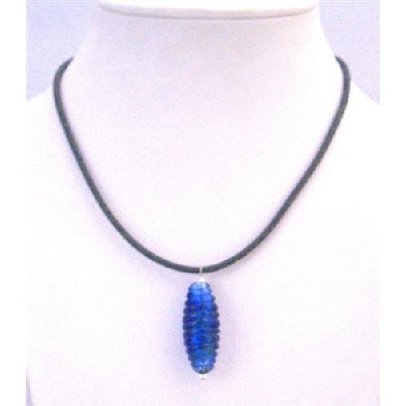 Indigo Color Pendant Twisted Indigo Murano Cyindrical Cheap Jewelry