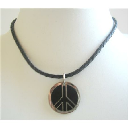 Mercede Logo Pendant In Black Knitted Chord Necklace