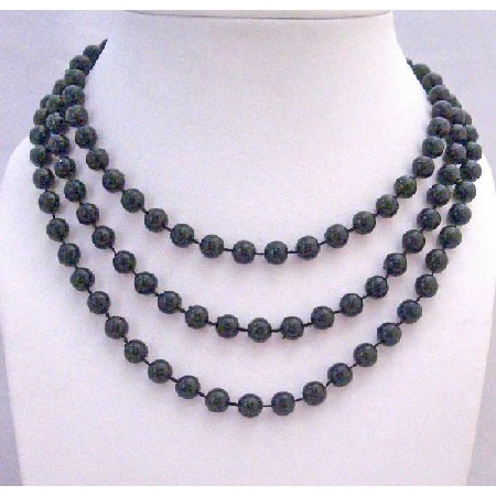 Black Lucite Beads Long Necklace Fancy Stunning 54 Inches Necklace