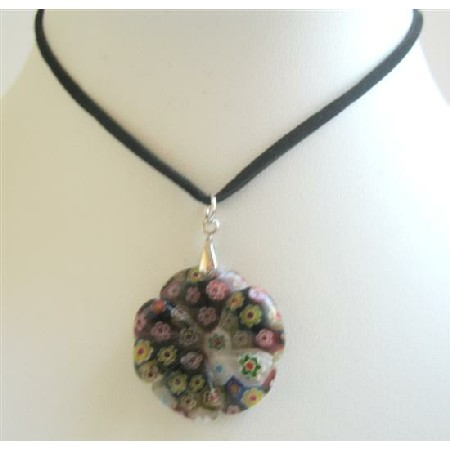 Black Velvet Chord Necklace w/ Simulated Millifiori Flower Pendant