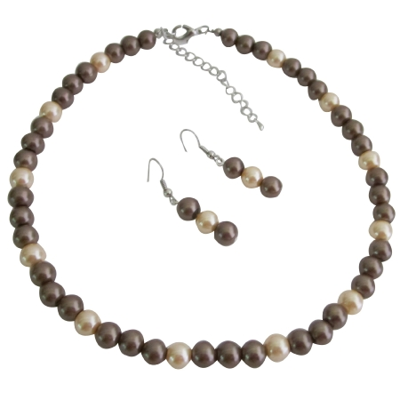 Wedding Pearls Jewelry Necklace Bronze Pearls & Peach Pearls Necklace