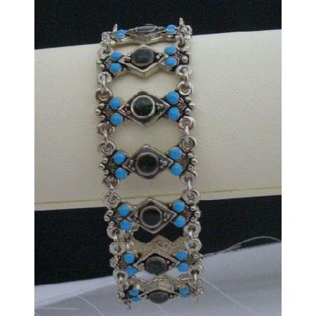 Oxidized Bracelet Simulated Turquoise Bead & Black Bead Stone Bracelet