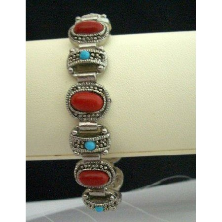 Bracelet Simulated Coral Red Stone & Turquoise Bead Oxidized Bracelet