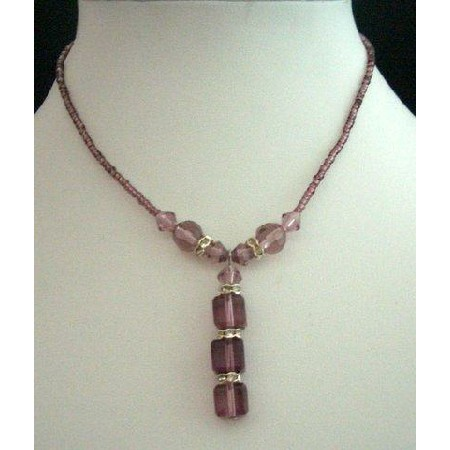 Choker Amethyst Beads & Simulated Crystals Necklace Drop Jewelry