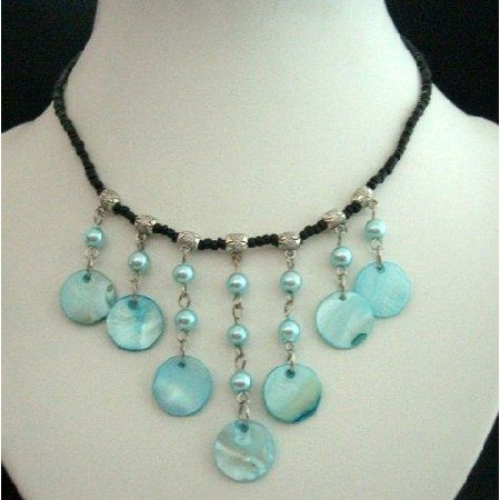 Blue Shell Choker Black Bead w/ Aquamarine & Pearls Necklace