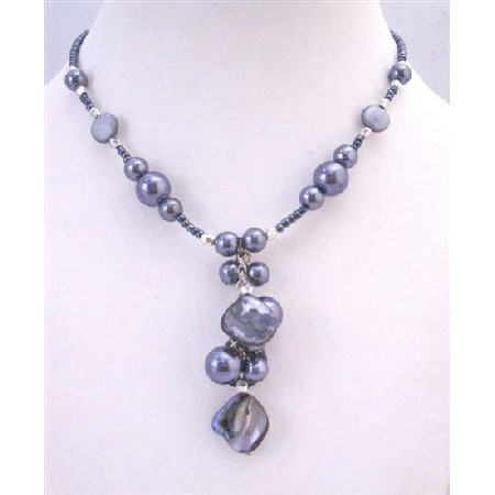 Grey Cultured Pearl Shell Choker Necklace Dangling Wonderful Jewelry