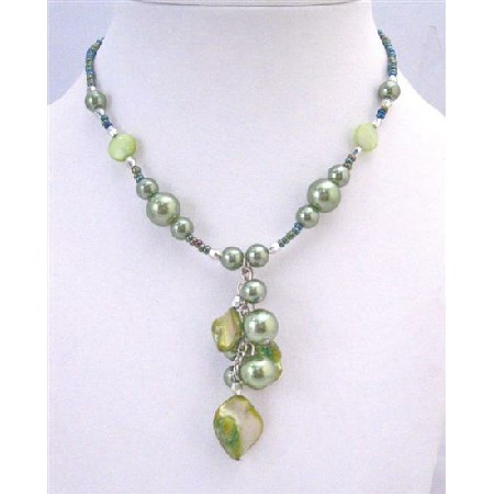 Green Cultured Pearl & Shell Choker Dangling Wonderful Cheap Necklace