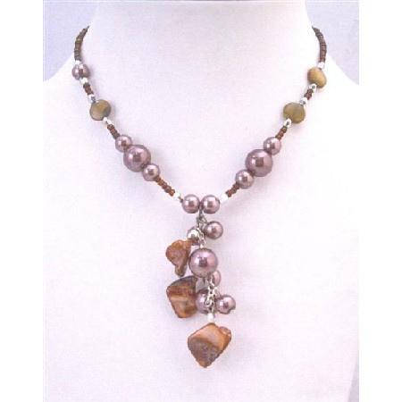 Shell Dangling Choker Brown Cultured Pearls & Shell Necklace Jewelry
