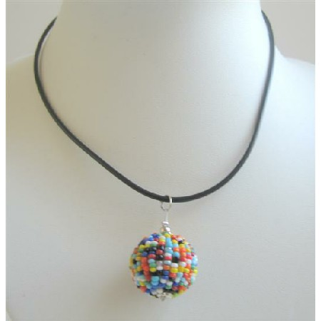Round Beaded MultiColored Millefiori Pendant In Black Chord