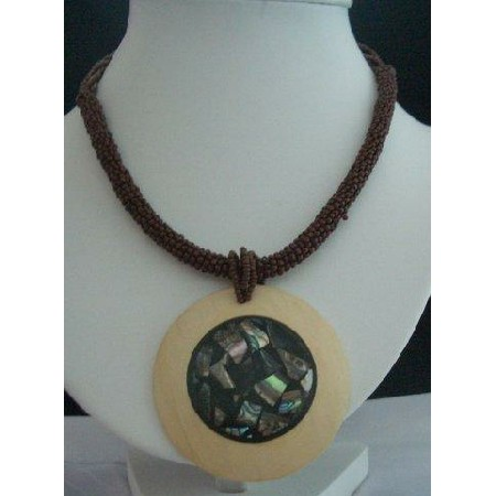 Beaded Necklace Brown w/ Abalone Embossed Wooden Round Pendant Choker
