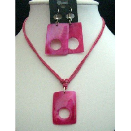 Fuchsia Shell Rectangular Pendant Necklace Set w/ Thread String