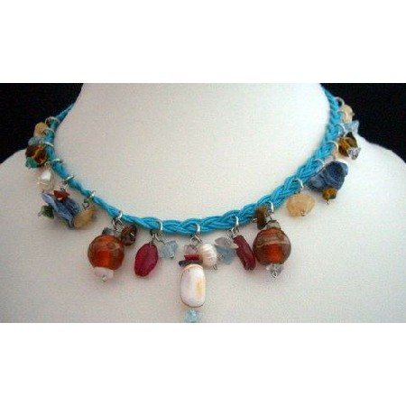 Shell Choker Blue Knitted Thread w/ Hanging Multi Bead Necklace