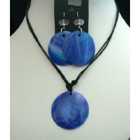 Blue Indigo Color Shell Pendant Necklace Set w/ Thread String