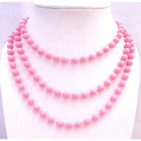 Pink Color Bead 54 Inches Beautiful Long Trendy Necklace Gift Jewelry