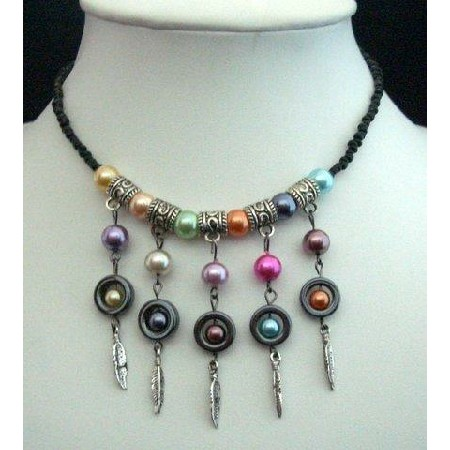 Cultured Pearls Black Knitted Thread w/ Hanging Multi Pearls Necklace