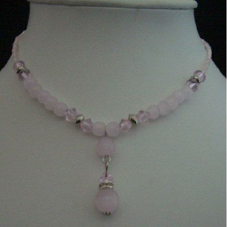 Soothig Pink Choker Pink Bead w/ Simulated Crystals Necklace Drop