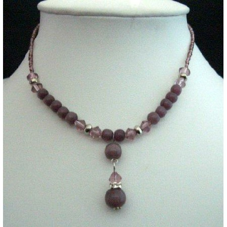Amethyst Bead & Simulated Crystal Choker Drop Down Necklace Jewelry