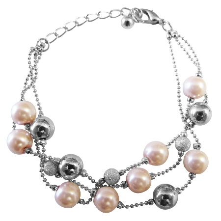 Pink Pearl Fancy Silver Beads Three Stranded Beautiful Pink Bracelet