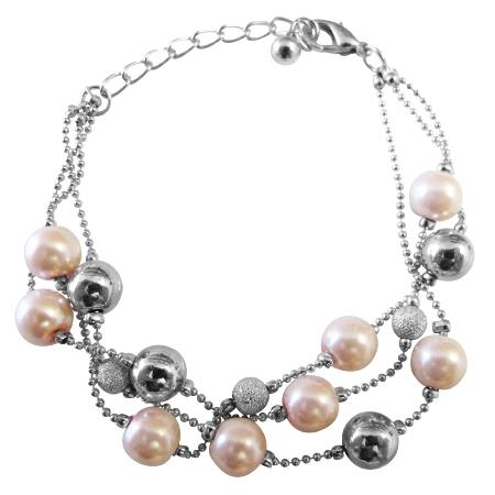 Pink Pearl Fancy Silver Beads Three Stranded Beautiful Pink Bracelet
