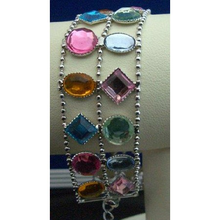 Multi Color Crystals Glass Bead Lobster Clast Bracelet
