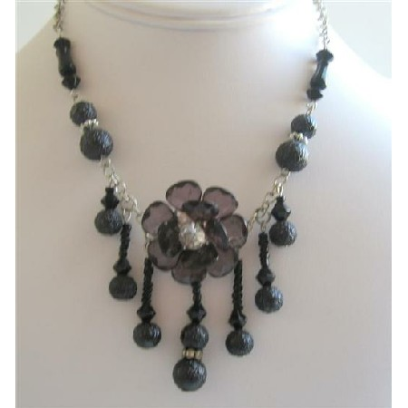 Beaded Necklace Black Simulated Pearls w/ Flower & Dangling Tiny Beads