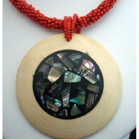 Beaded Necklace Red w/ Abalone Embossed Wooden Round Pendant Choker