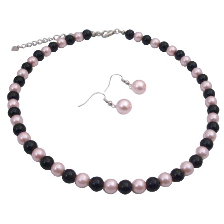 Pink Black Pearls Jewelry Set Smashing Combo Of Pink & Black Beads Set