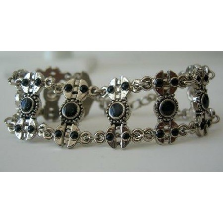Black Bead Stone Oxidized Bracelets 7 inches