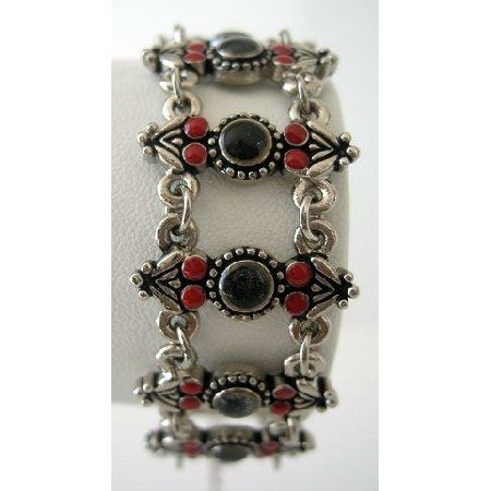 Simulated Coral Red Bead & Black Bead Stone 7 inches Oxidized Bracelet