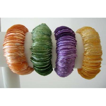 Diced Shell Strechable Bracelet Multi Colors