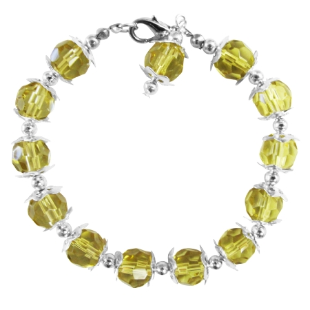 Olive Green Crystals Glass Beads w/ Bali Silver Dangling Bracelet