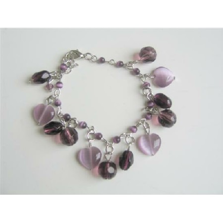 Cat Eye Beaded Bracelet Amethyst Crystals Heart Charms Bracelet