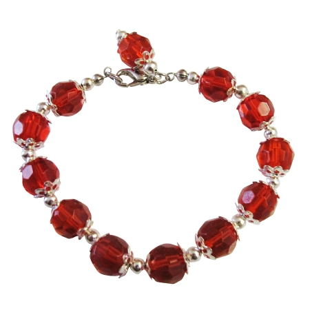 Red Glass Bead Dangling Bracelet w/ Silver Bead 7 1/2 Inches Bracelets