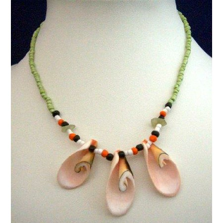 Green Beaded Necklace w/ 3 Sea Shell