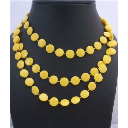 Flat Yellow Long Necklace Stunning Striking Yellow Bead Long Necklace
