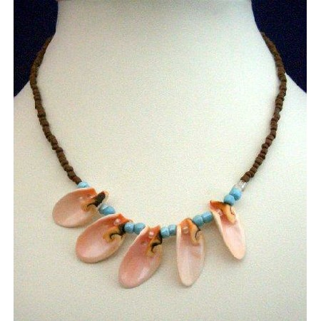 Necklace Brown Beaded w/ 4 Sea Shell Choker
