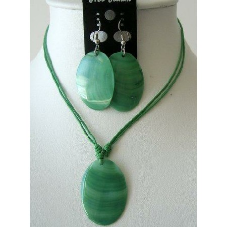 Oval Shell Pendant Green Necklace Set w/ Thread String