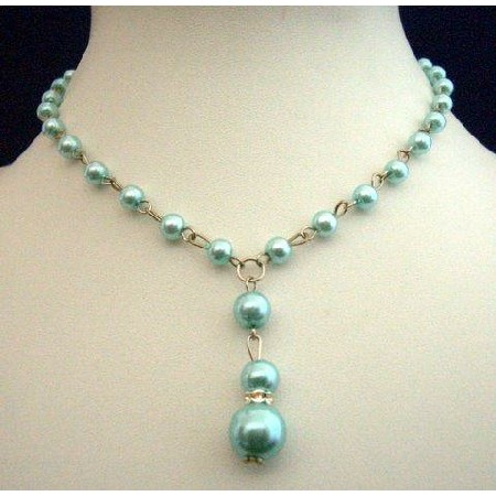 Synthetic Pearls Necklace Blue Pearls Choker w/ Drop Down Necklace