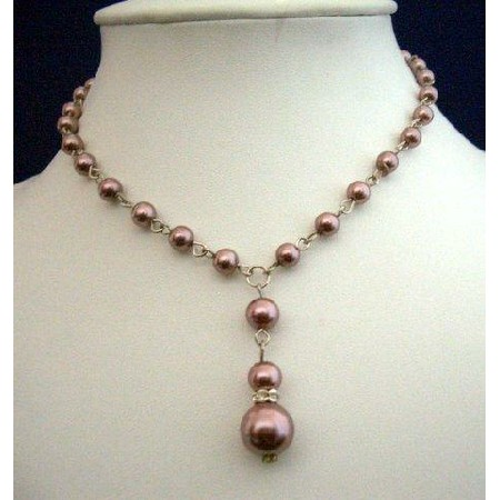 Cultured Pearls Choker Lite Brown Pearls Necklace Drop Down Necklace