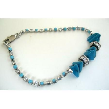 Simulated Filgree Bracelet Turquoise Stone Bead Cubic Zircon Bracelet