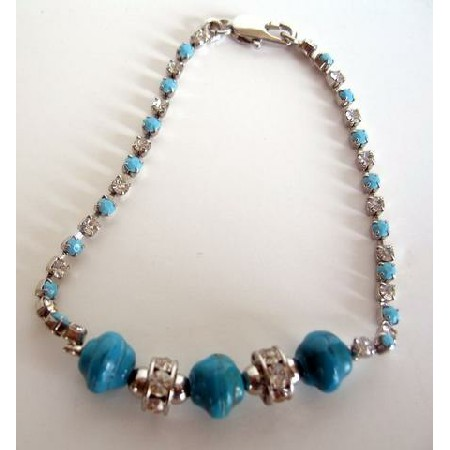 Filgree Bracelet Simulated Turquoise Stone Bead Cubic Zircon Bracelet