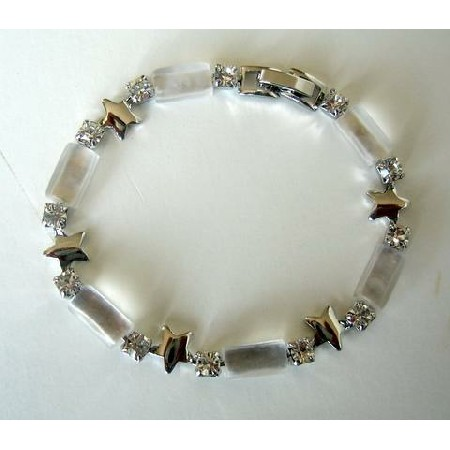 White Filgree Bracelet Glass Bead w/ Cubic Zirconia 7inches Bracelet