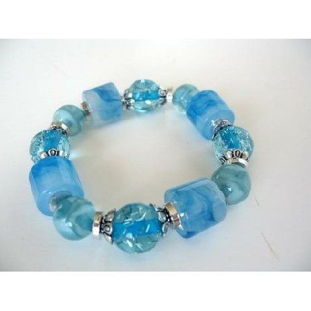 Stretchable Bracelet Multi Shapes Blue Lucite Beads Bracelet