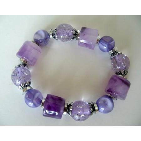 Purple Stretchable Bracelet Multi Shapes Blue Lucite Beads Bracelet