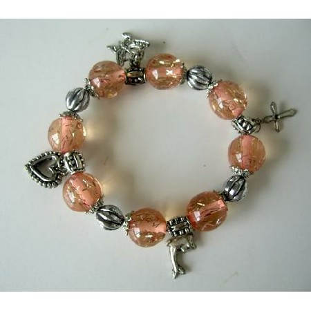 Lucite Beads Fancy Stretchable Charm Peach Color Bracelet