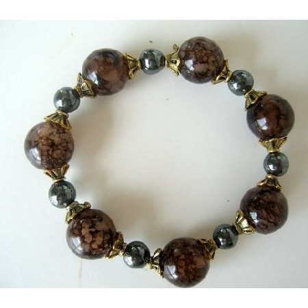 Wooden Lucite Beads w/ Antique Gold Bead & Pearl Stretchable Bracelet