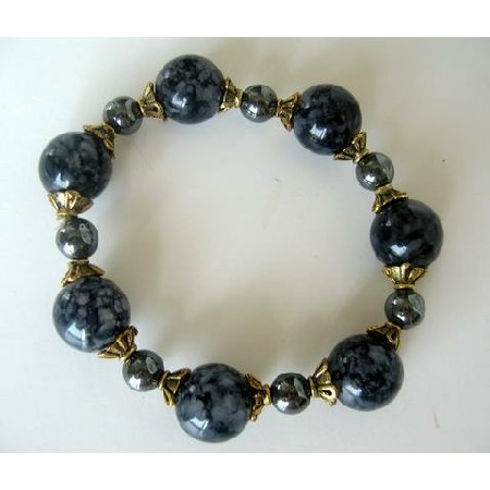 Stretchable Grey Lucite Beads Antique Gold Bead Pearl Bracelet