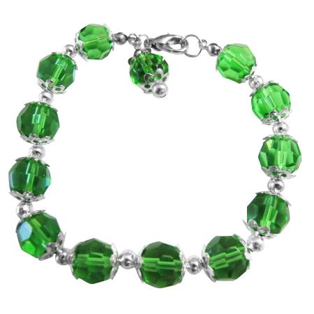 Green Simulated Crystal Balls Beads Bracelet w/ Bead Dangling
