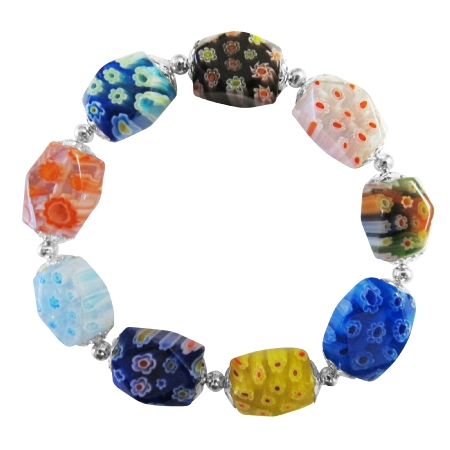 Comfortable Stretchable Bracelet Millefiori Murano Glass Bead Bracelet