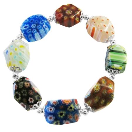 Stretchable Bracelet Millefiori Murano Glass Bead Bracelet